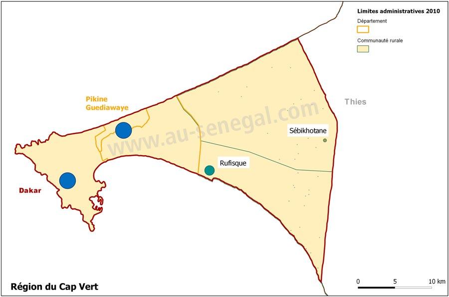Découpage Administratif De La Région De Dakar Au Sénégal Le Cœur - Pikine map