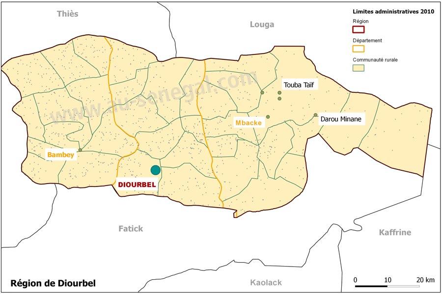 Dcoupage administratif de la rgion de Diourbel Au Sngal le