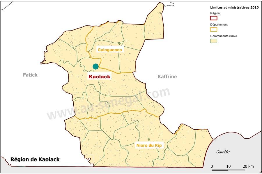 Carte administrative de la rgion de Kaolack Au Sngal le cur du