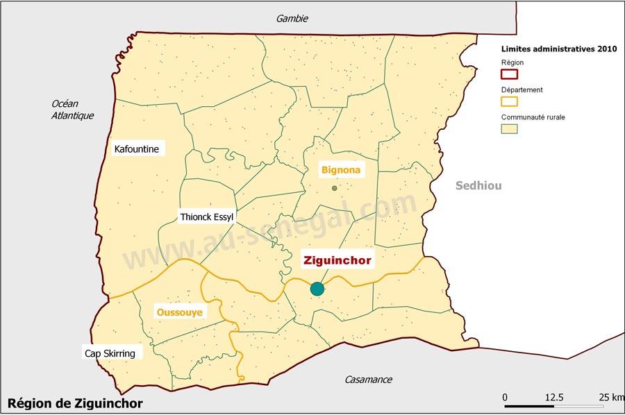 Dcoupage administratif de la rgion de Ziguinchor Au Sngal le