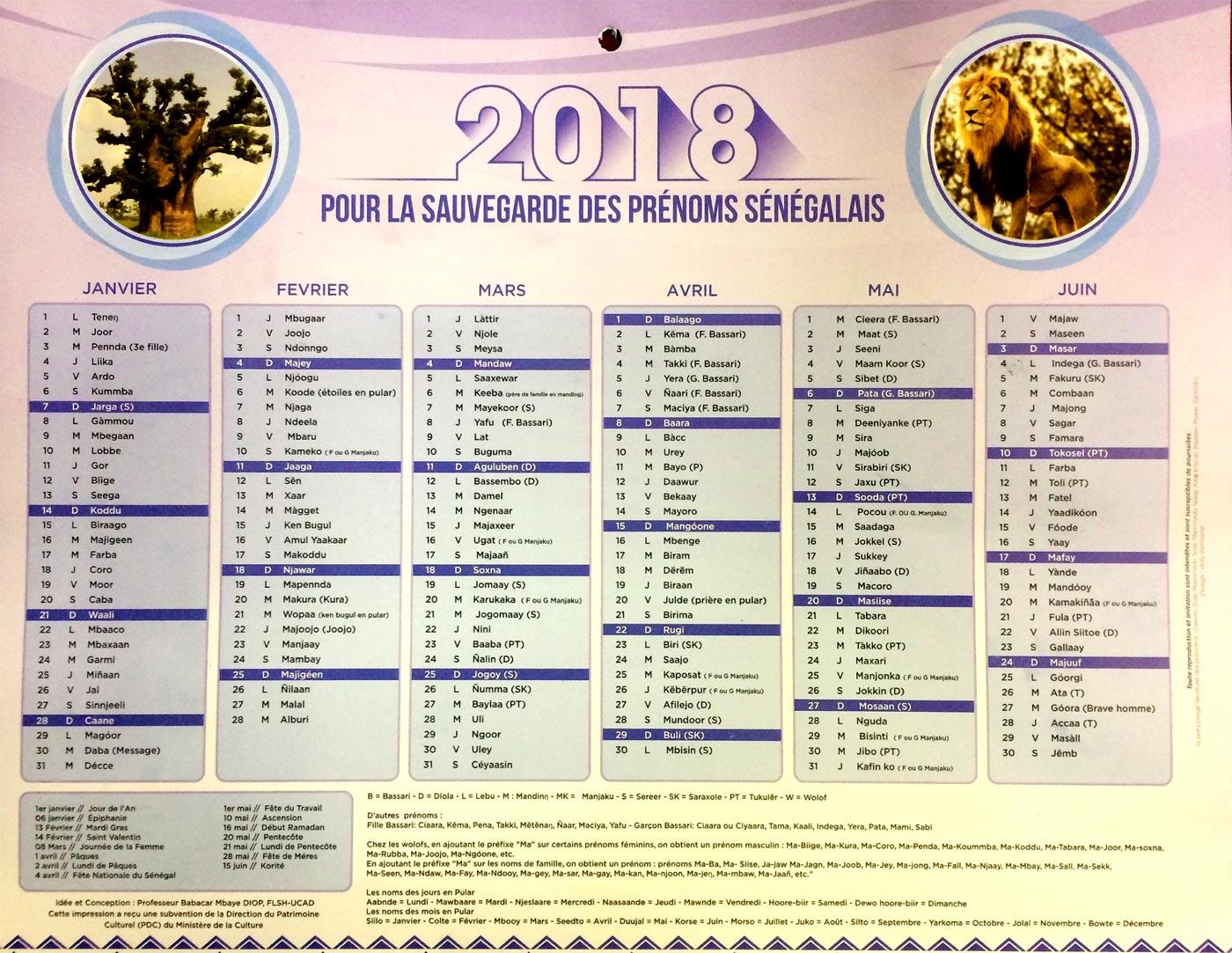 Calendrier Des Saints Et Des Prenoms.Un Calendrier Pour La Sauvegarde Des Prenoms Senegalais Au