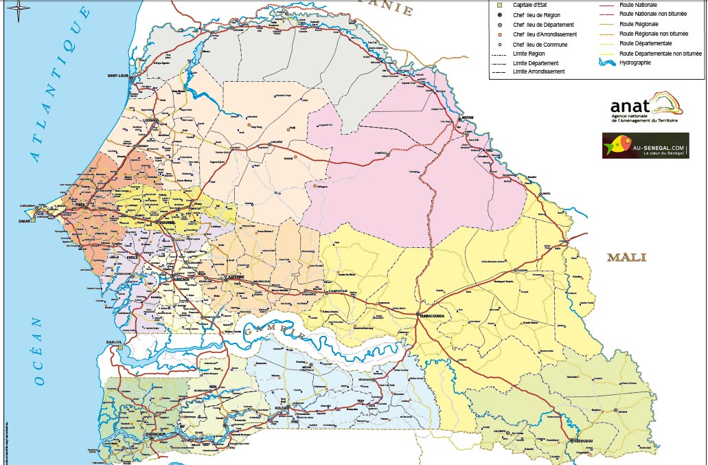 Cartes du Sénégal et des différentes régions  Au Sénégal, le cœur