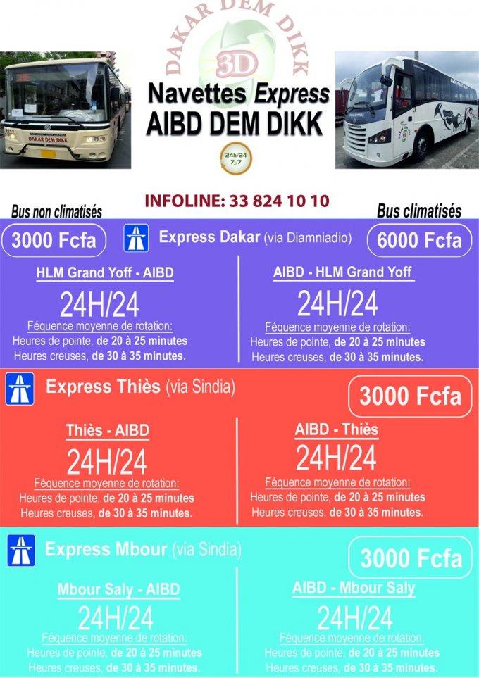 Ligne VIP avec bus climatisés pour AIBD-Sénégal